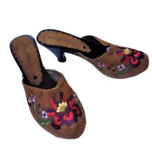 💓host pick💓 Embroidery floral mules slip ons